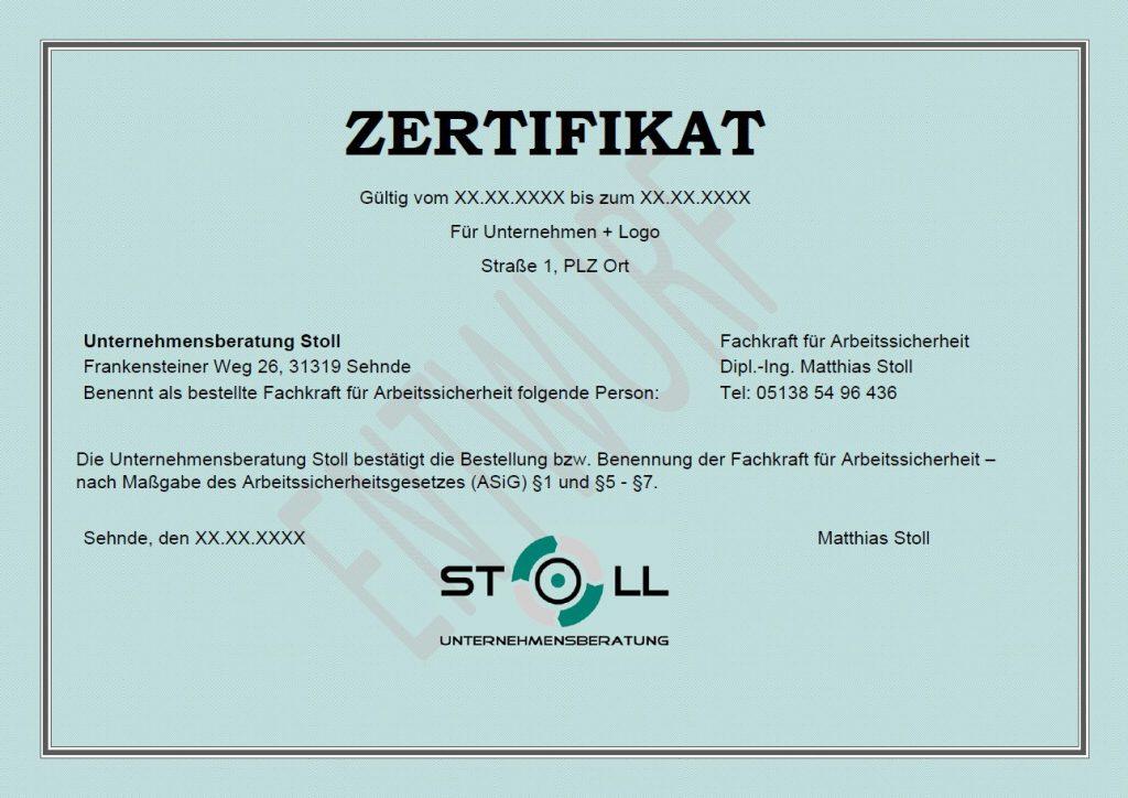 Zertifikat Fachkraft für Arbeitssicherheit - Sifa - Fasi