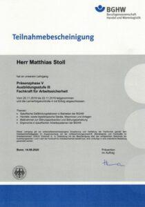 Fachkraft für Arbeitssicherheit Zertifikat BGHW
