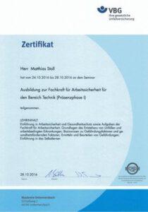 Fachkraft für Arbeitssicherheit Zertifikat1