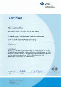 Fachkraft für Arbeitssicherheit Zertifikat2